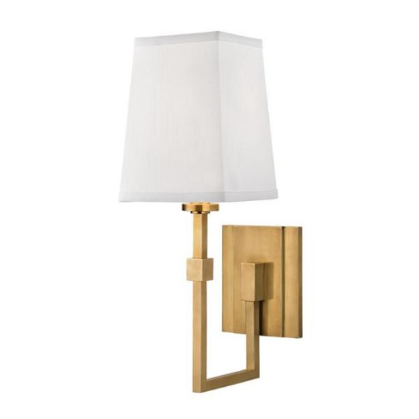 Irvington 5 in. Aged Brass Wall Sconce with White Faux Silk