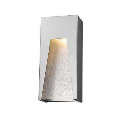 Farran 75-Watt Equivalent Outdoor Silver Integrated LED Wall Mount Sconce with Clear Seedy Glass Shade