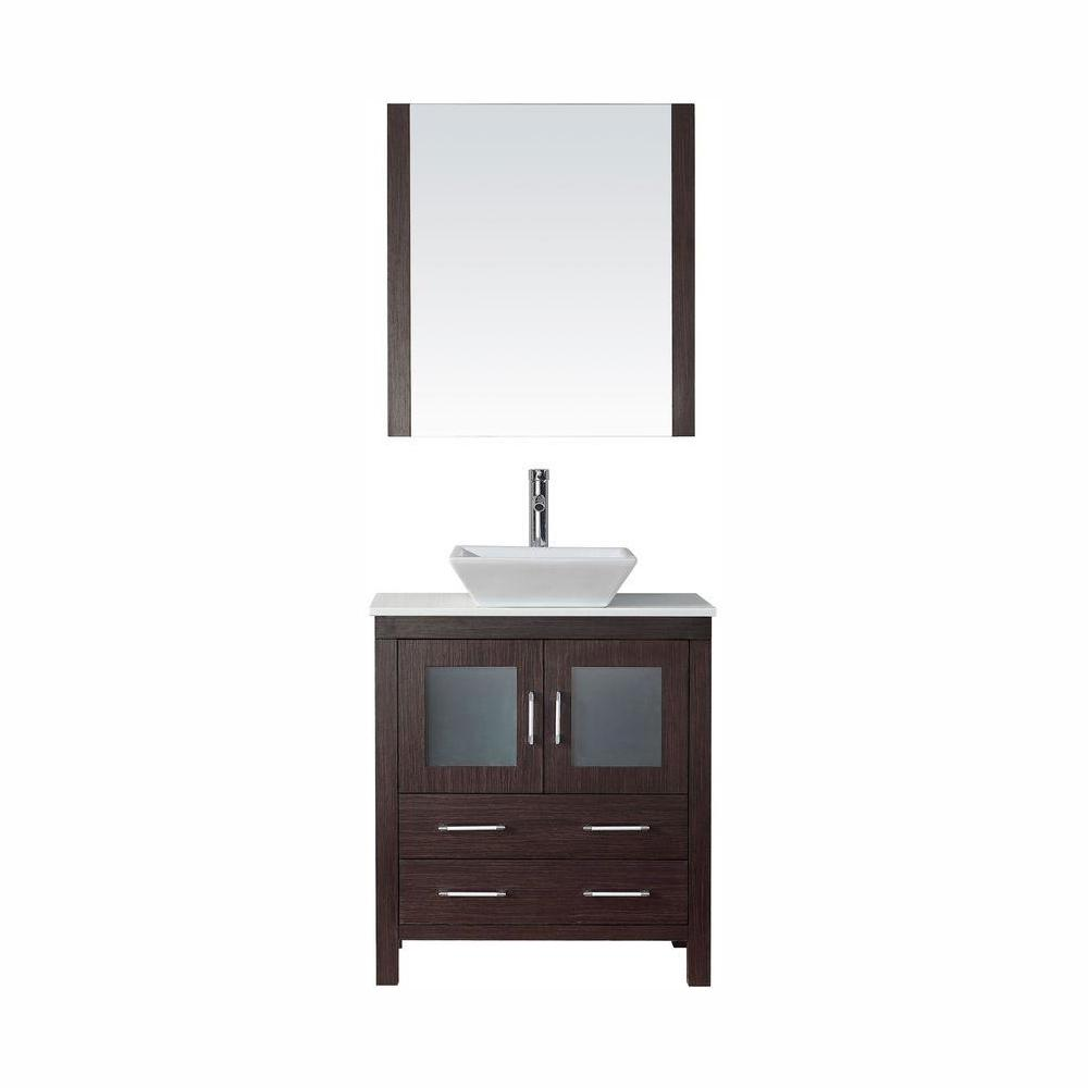 Virtu USA Dior 31 in. W Bath Vanity in Espresso with Stone Vanity Top in White with Square Basin and Mirror and Faucet