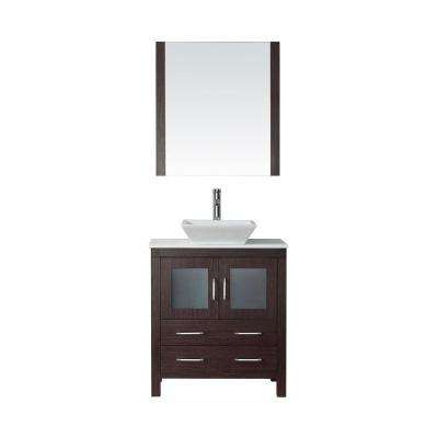 Dior 31 in. W Bath Vanity in Espresso with Stone Vanity Top in White with Square Basin and Mirror and Faucet