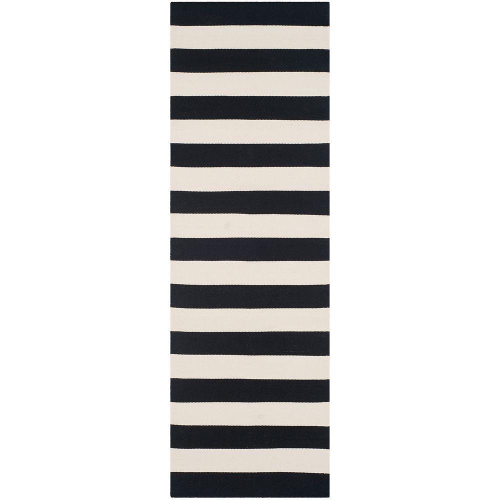 Montauk Black/Ivory 2 ft. x 9 ft. Runner Rug