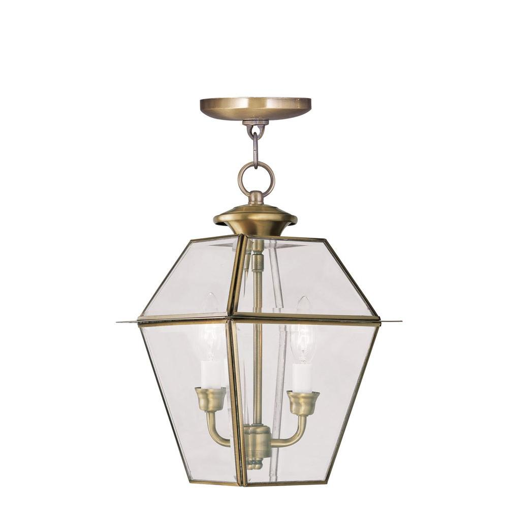 Westover 2 Light Antique Brass Outdoor Pendant Lantern