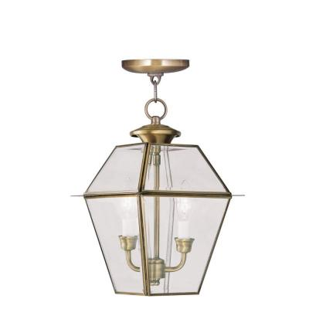 Providence 2-Light Antique Brass Outdoor Incandescent Hanging Lantern