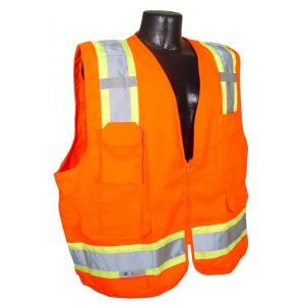Radians CL 2 Two-Tone Surveyor Orange Twill Large Safety Vest by Radians