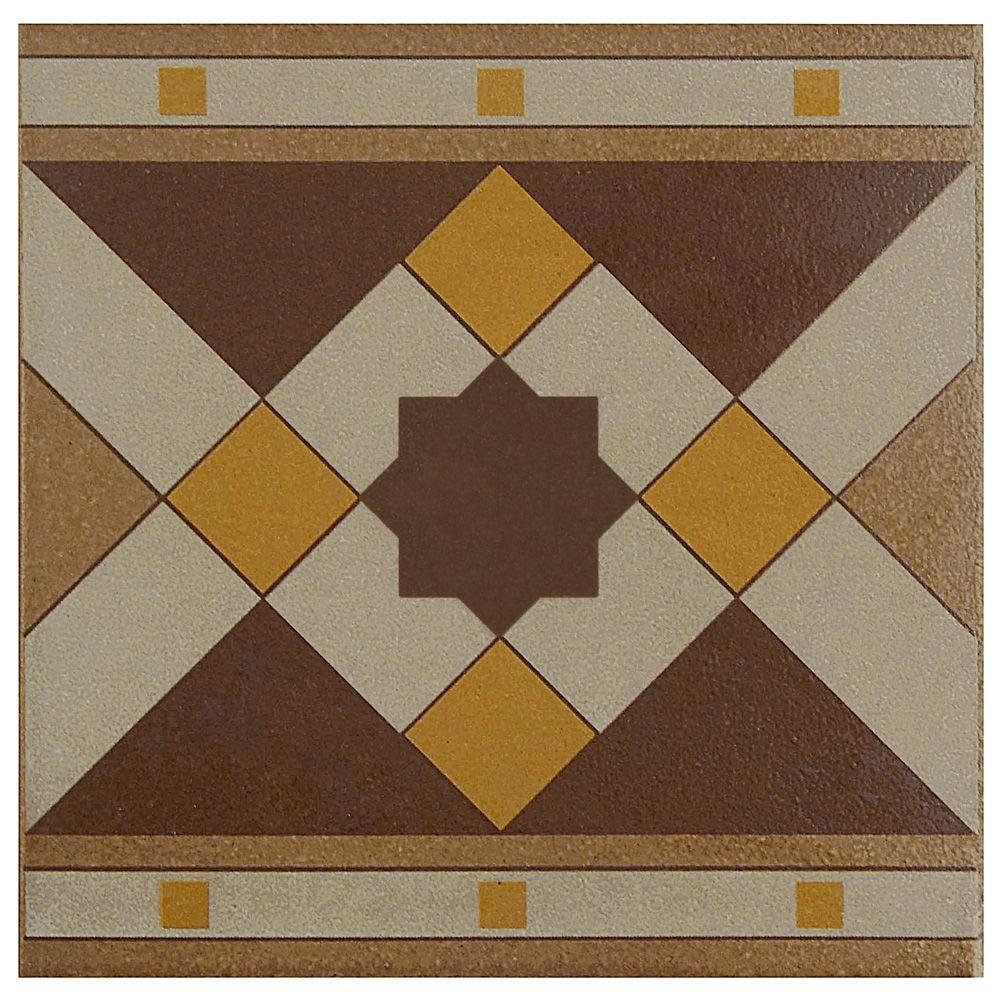 Merola Tile Cementi Quatro Geo Cenefa Encaustic 7 In X Porcelain Floor