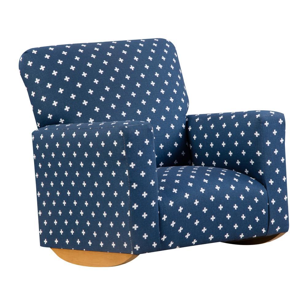 Remarkable Sallie Navy Blue And White Upholstered Juvenile Kids Rocker Ibusinesslaw Wood Chair Design Ideas Ibusinesslaworg