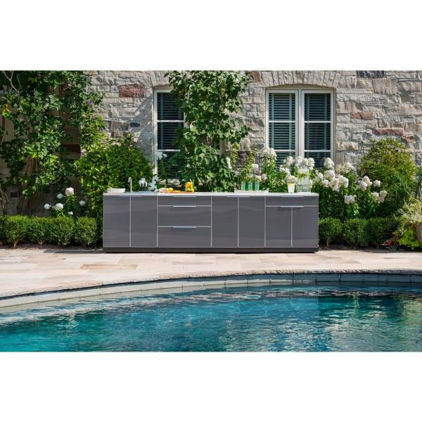 Newage Products Slate Gray 4 Piece 97 In W X 36 5 In H X 24 In D Outdoor Kitchen Cabinet Set 65251 The Home Depot
