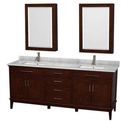 Hatton 80 in. Vanity in Dark Chestnut with Marble Vanity Top in Carrara White, Square Sink and Medicine Cabinet