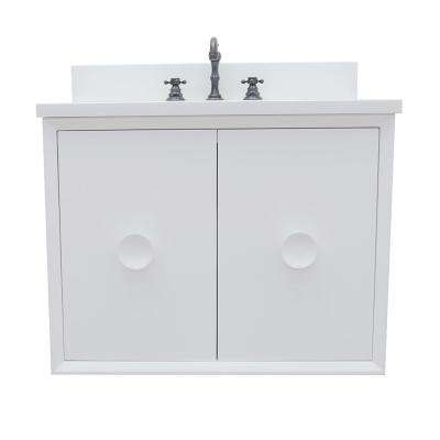 Stora 31 in. W x 22 in. D Wall Mount Bath Vanity in White with Quartz Vanity Top in White with White Oval Basin