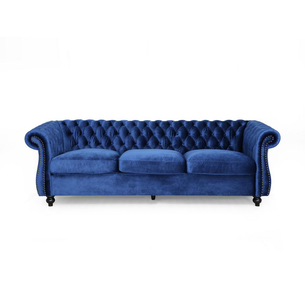 Sommerville 34.5 in. Navy Blue/Dark Brown Velvet 3-Seater Chesterfield Sofa with Flared Arms