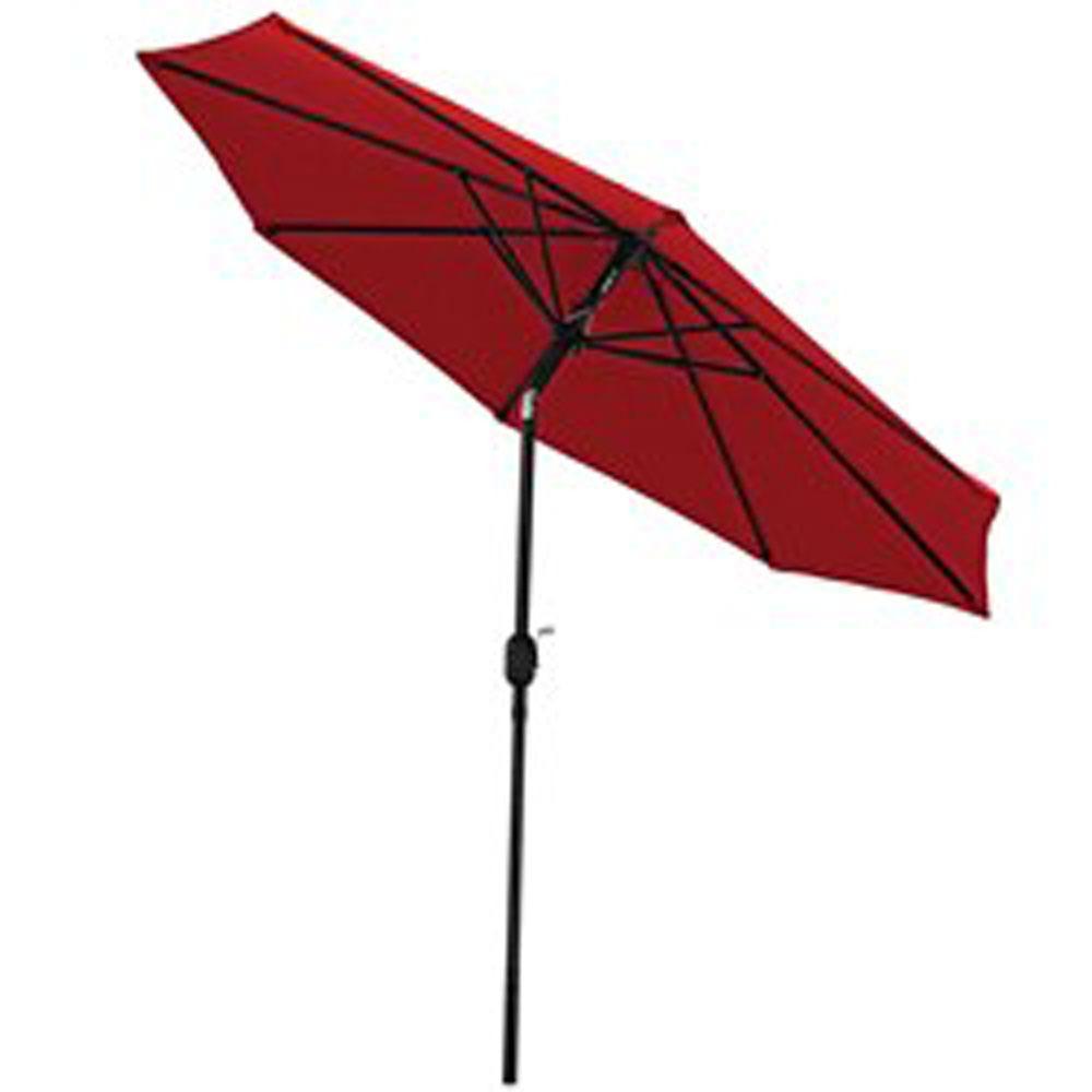 9 ft. Aluminum Market Tilt Patio Umbrella in Red