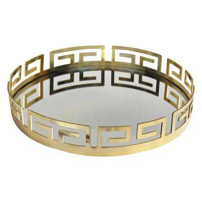 15 in. x 3 in. x 15 in. Electroplated Gold Metal and Glass Round Serving Tray