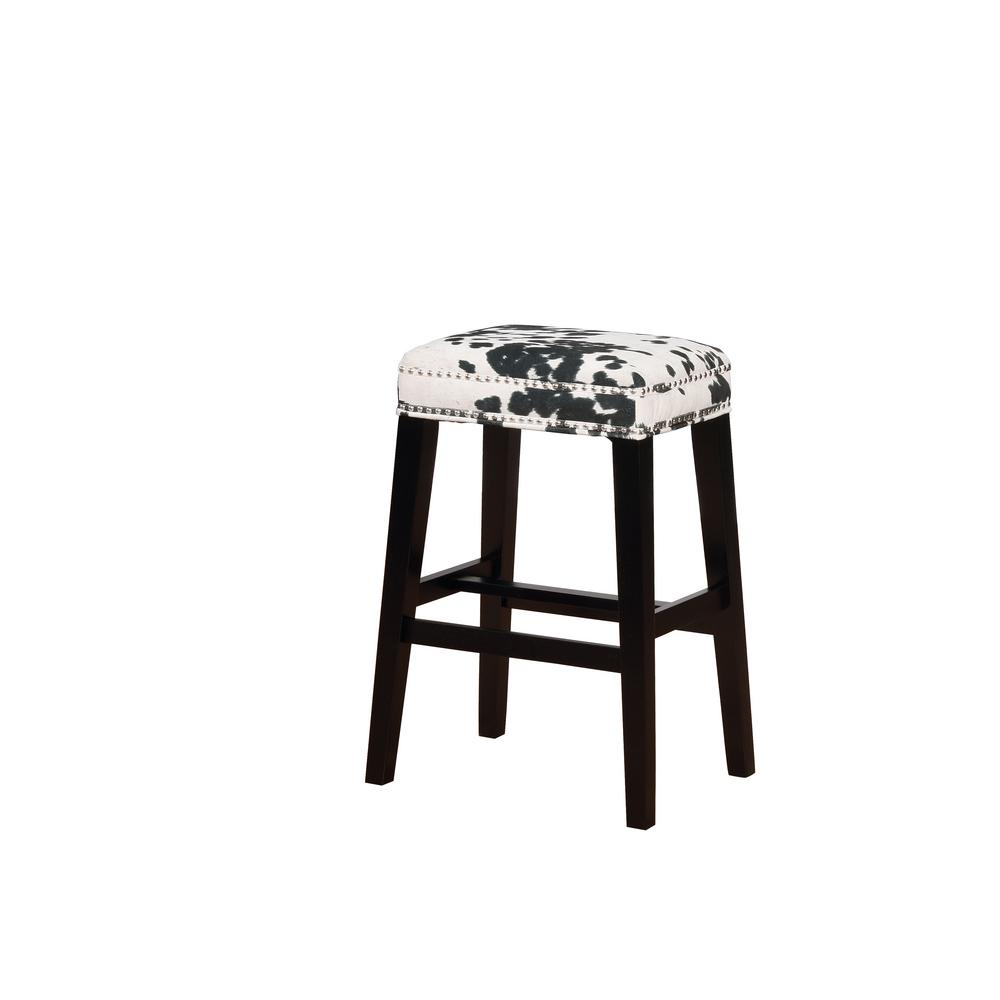 Linon Home Decor Will Black Cow Print Bar Stool Thd00601
