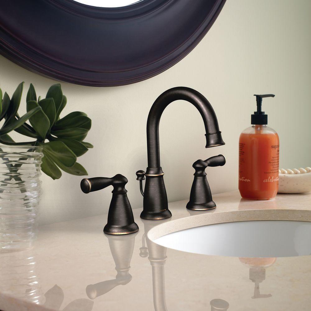 Moen Banbury 8 In Widespread 2 Handle Bathroom Faucet In Mediterranean Bronze Ca84924brb The Home Depot