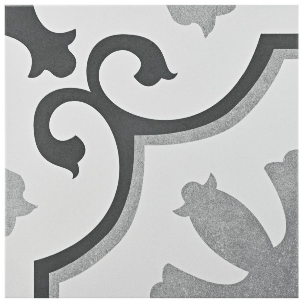 MerolaTile Merola Tile Viena Classic Encaustic 12-3/8 in. x 12-3/8 in. Ceramic Floor and Wall Tile (10.96 sq. ft. / case), Black/ White/ and Grey / Medium Sheen