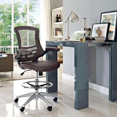 Attainment Vinyl Drafting Stool in Brown