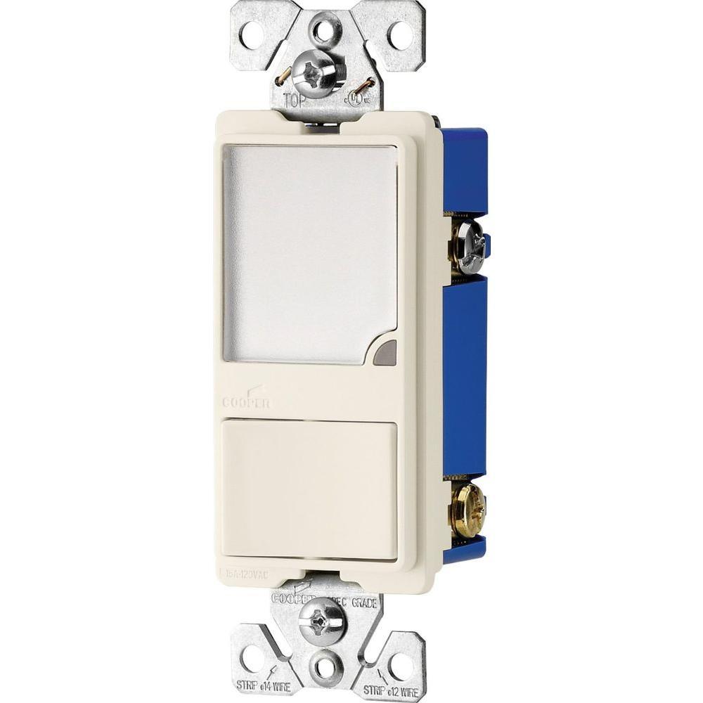 Eaton 15 Amp 120-Volt Heavy Duty Single-Pole Switch with 1-Watt LED Nightlight Combination-Almond