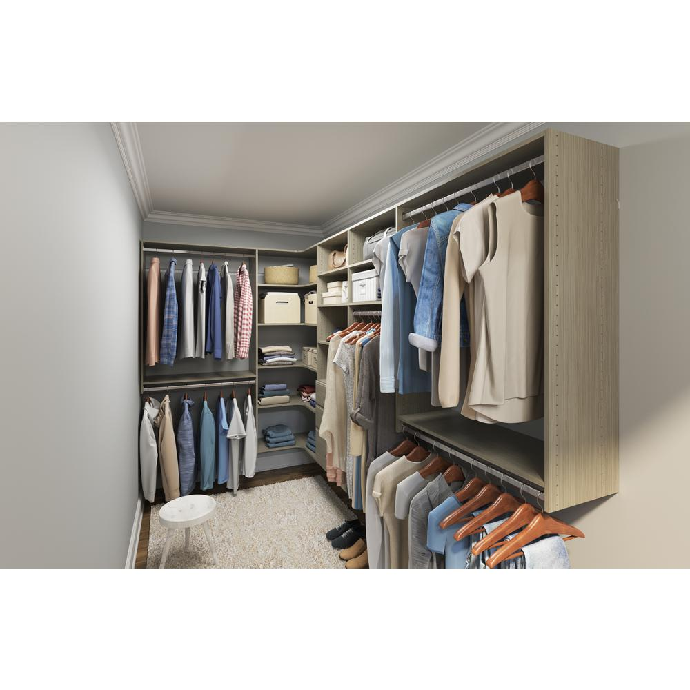 Closet Evolution Ultimate 84 in. W - 115 in. W Rustic Grey Wood Closet Corner System