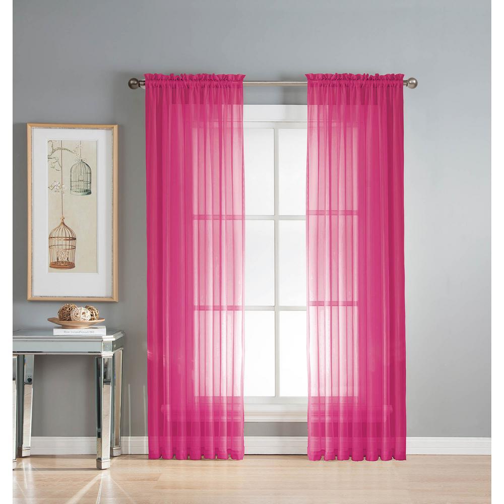 Sheer Sheer Elegance 84 in. L Rod Pocket Curtain Panel Pair, Fuchsia (Set of 2)