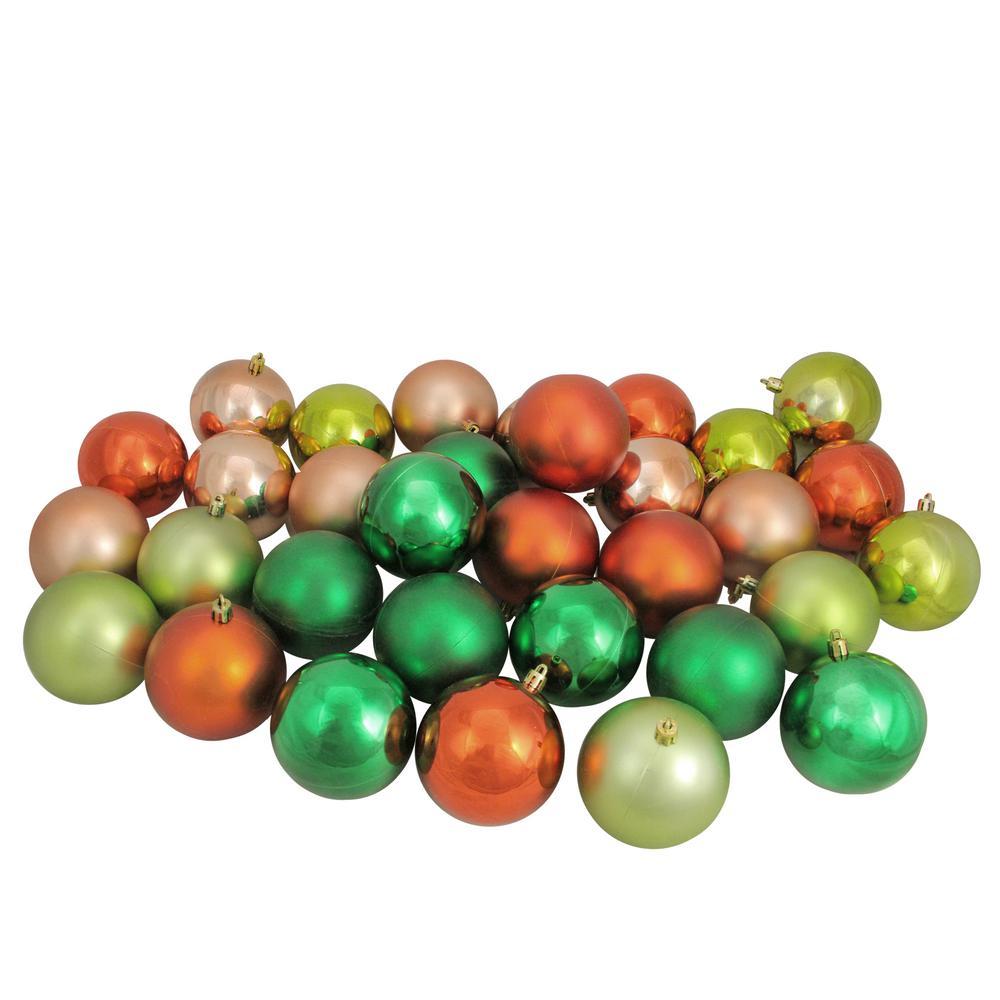3.25 in. Xmas Green/Almond/Kiwi/Burnt Orange Shatterproof Christmas Ball Ornaments (32-Count)