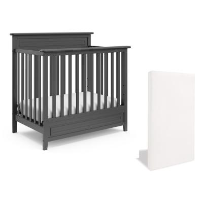 Petal Mini Gray 5-in-1 Convertible Crib with Bonus Mattress