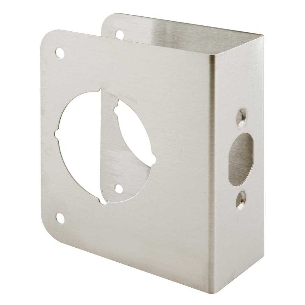 Prime-Line 1-3/4 in. x 4-1/2 in. Thick Solid Brass Lock and Door Reinforcer, 2-1/8 in. Single Bore, 2-3/4 in. Backset