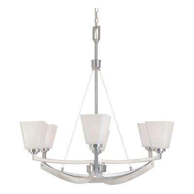 Avanti 6-Light Satin Platinum Chandelier with Fusione Glass Shades