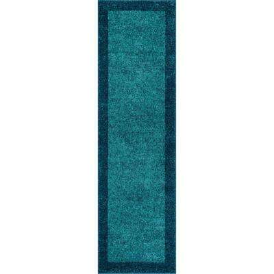 Vettore Felize Blue 2 ft. x 7 ft. Transitional Ombre Border Distressed Runner Rug