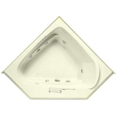 Morandi 60 in. Acrylic Left Front Drain Corner Drop-In Whirlpool Bathtub with Heater in Biscuit