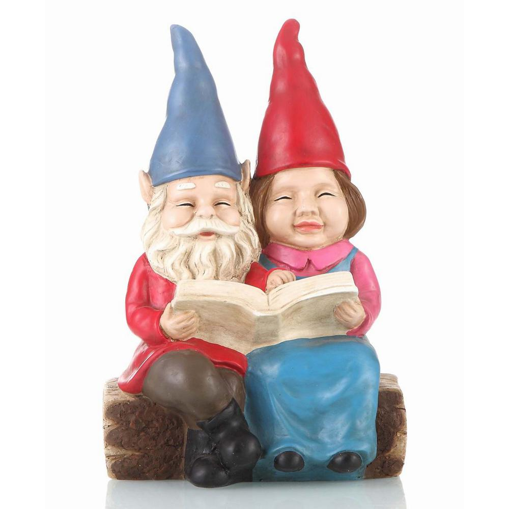Perfect Hi Line Gift Gnome Couple Reading On Bench