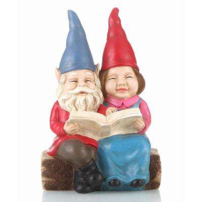 Gnome Couple Reading On Bench