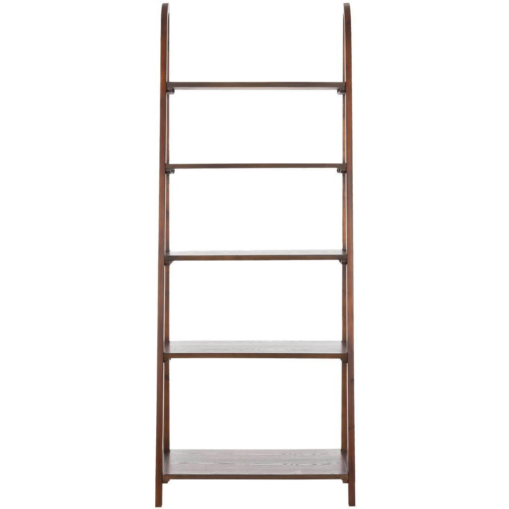 72.2 in. Dark Teak Wood 5-shelf Ladder Bookcase with Open Back