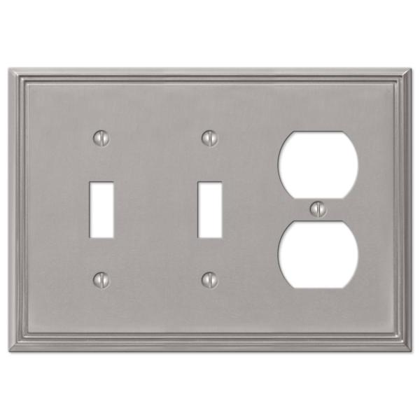 Rhodes 3 Gang 2-Toggle and 1-Duplex Metal Wall Plate - Brushed Nickel