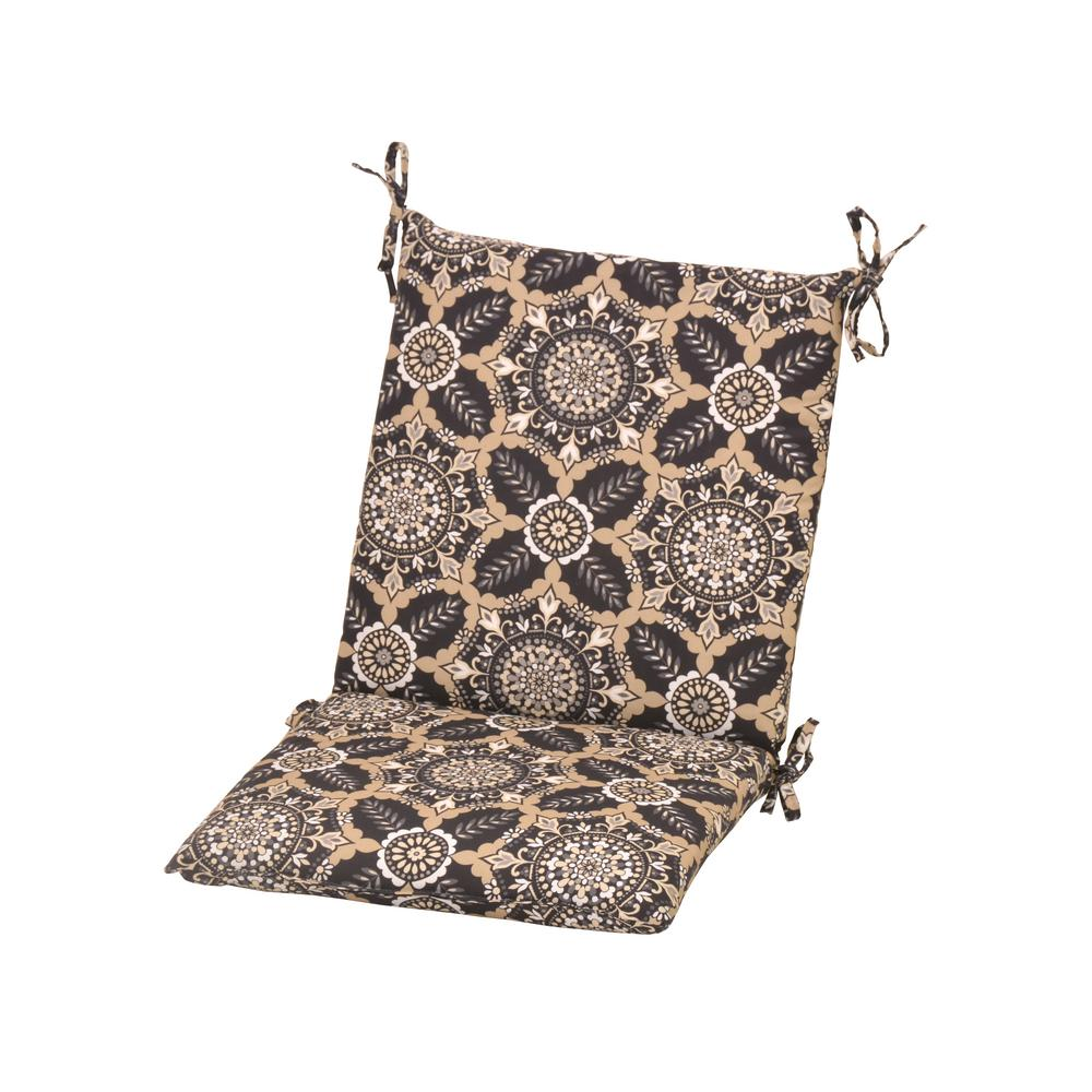 Black Tile Outdoor Mid-Back Dining Chair Cushion