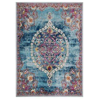 Rixos Collection Turquoise / Grey 7 ft. 10 in. x 9 ft. 10 in. Distressed Medallion Design Vintage Area Rug