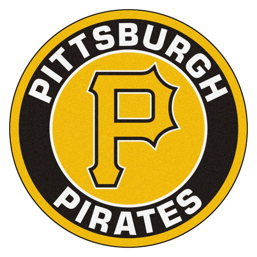FANMATS MLB Pittsburgh Pirates Black 2 ft. x 2 ft. Round Area Rug