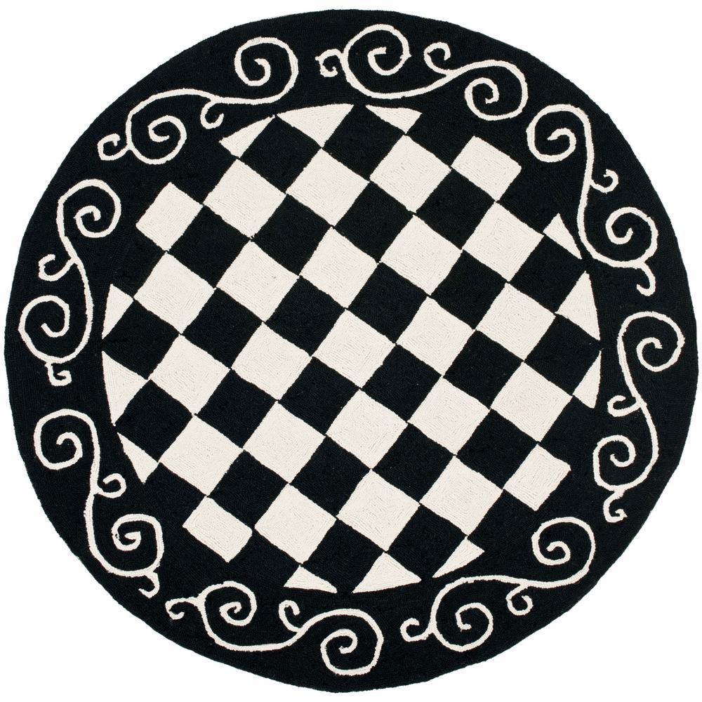 Black And White Checkered Rug: Safavieh Chelsea Black/Ivory 4 Ft. X 4 Ft. Round Area Rug