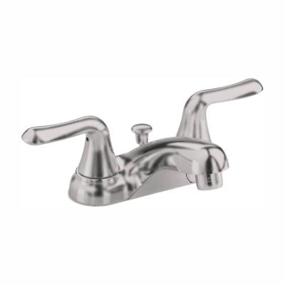 Colony Soft 4 in. Centerset 2-Handle Low-Arc Bathroom Faucet in Brushed Nickel with Pop-Up Drain