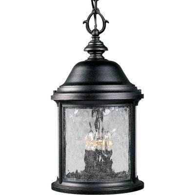 Ashmore Collection 3-Light Textured Black Outdoor Hanging Lantern