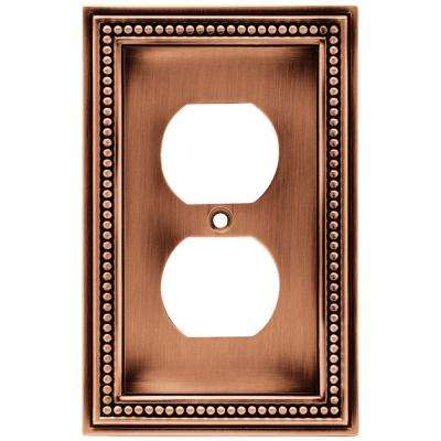 Beaded Decorative Single Duplex Outlet Cover, Aged Brushed Copper