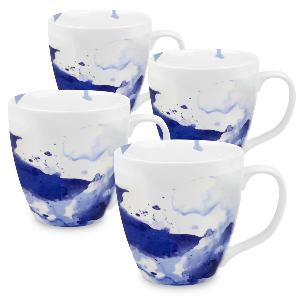Konitz 4-Piece Seeing Blue Porcelain Mug Set