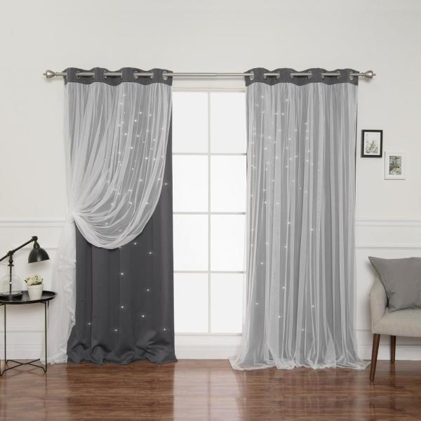 84 in. L Dark Grey Tulle Overlay Star Cut Out Blackout Curtain Panel (2-Pack)