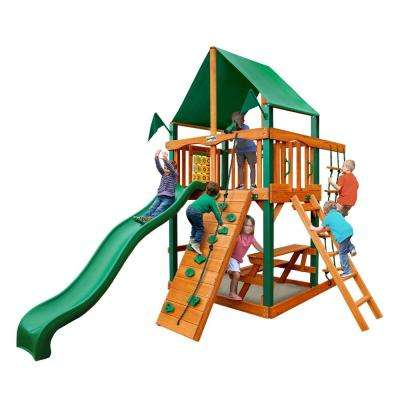Chateau Tower with Timber Shield and Deluxe Green Vinyl Canopy Cedar Swing Set