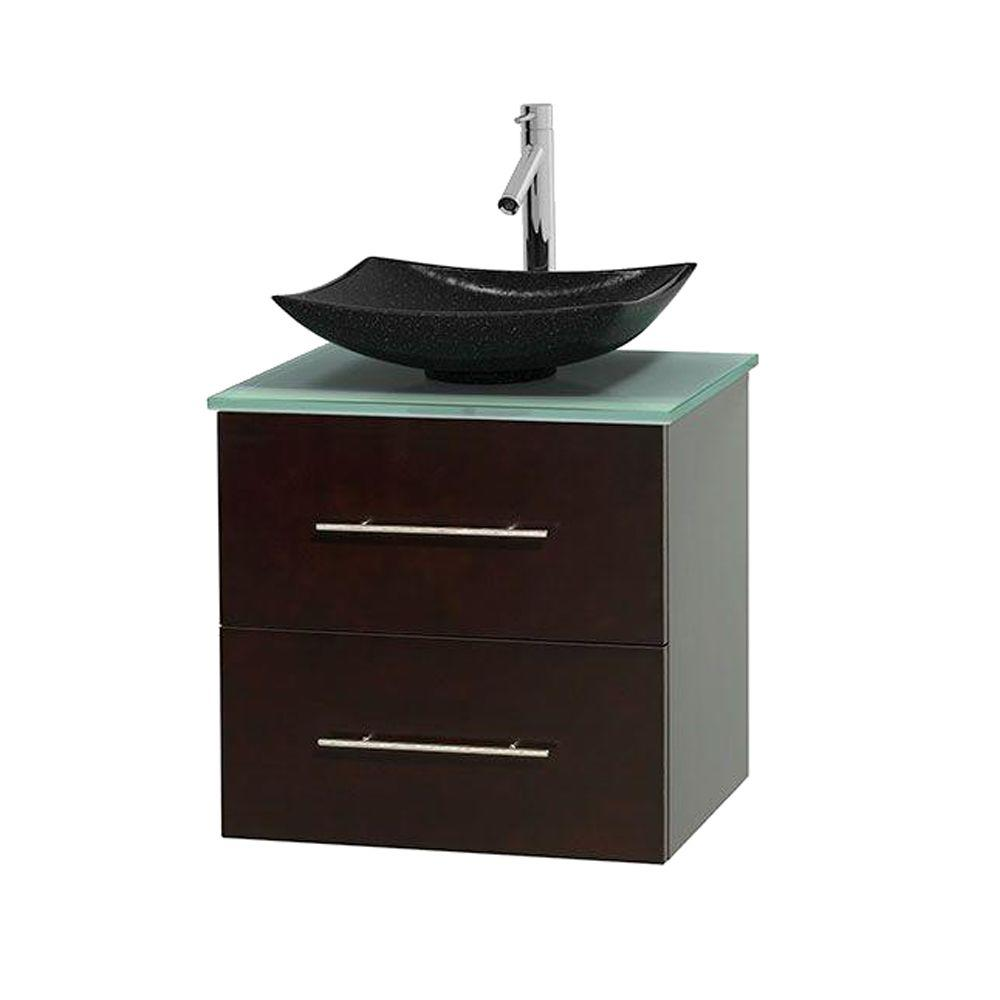 Wyndham Collection Centra 24 in. Vanity in Espresso with Glass Vanity Top in Green and Black Granite Sink