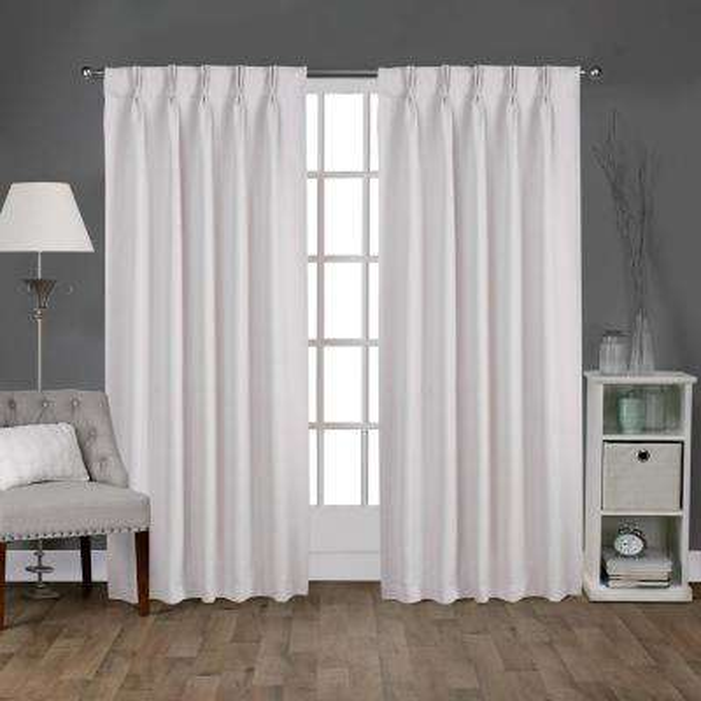 Sateen 30 in. W x 84 in. L Woven Blackout Pinch Pleat Top Curtain Panel in Vanilla (2 Panels)