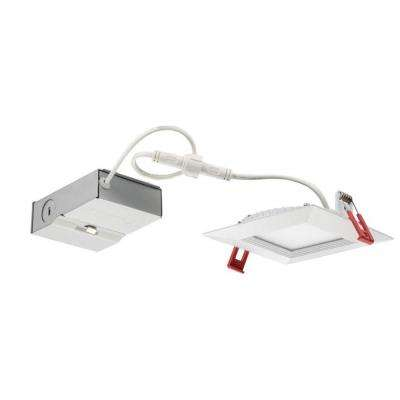 WF4 Wafer Square 4 in. White 5000K New Construction or Remodel Wet Location Recessed Integrated LED Kit