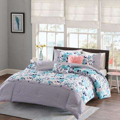 Tiffany 5-Piece Blue Full/Queen Floral Comforter Set