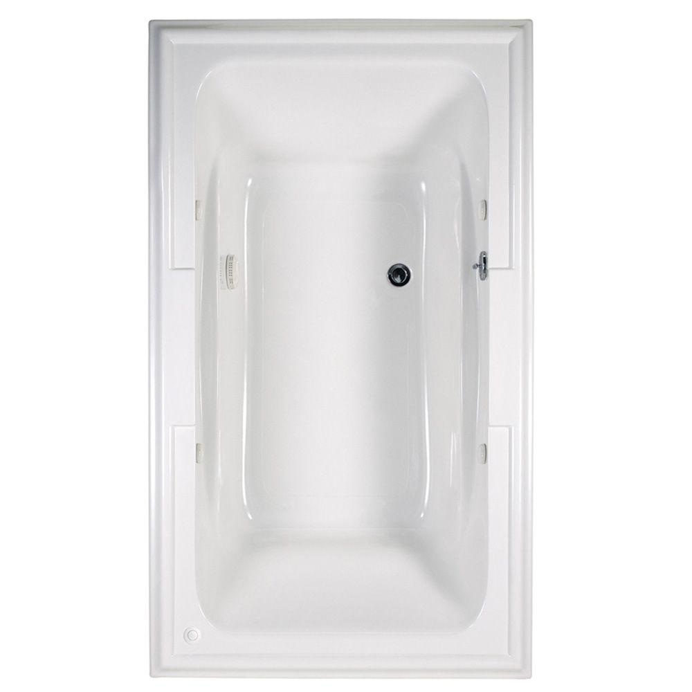 American Standard Town Square 6 ft. x 42 in. Center Drain EverClean Air Bath Tub with Chromatherapy in White