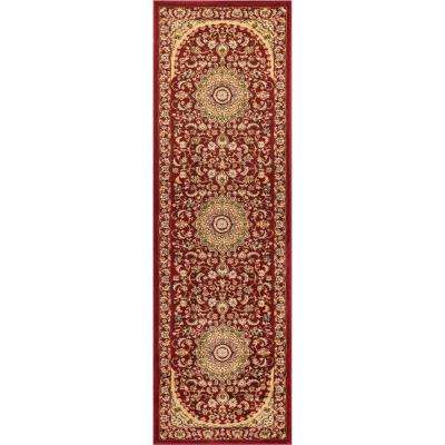 Timeless Aviva 2 ft. 7 in. x 12 ft. Traditional Oriental French Country Red Runner