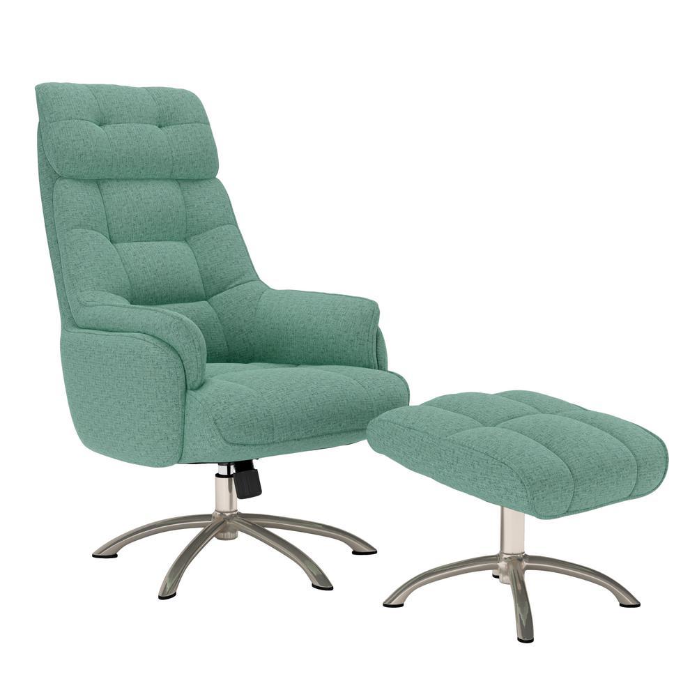 Colin Contemporary in Aqua Green Tweed  Swivel  Rocker Chair and Ottoman Set